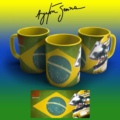 Imagem 1 de 2 de Caneca Amarela Personalizada Ayrton Senna
