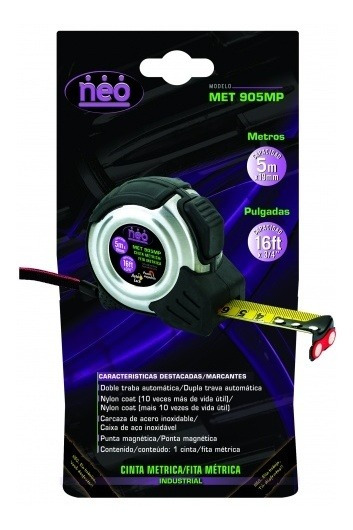 Cinta Métrica Neo 8m X 25mm C/punta Magnetica - Met908mp