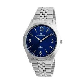 Relógio Champion Feminino Prata Ca21777f Fundo Azul