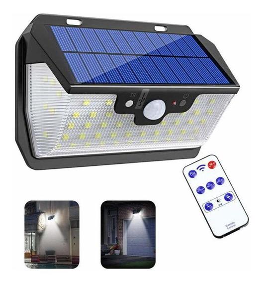 Lámpara Luz Solar Exterior Pared 55led Remoto Calle Glückluz