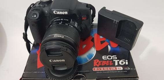 Câmera Canon Dslr Eos Rebel T6i Com Lente 18-55mm