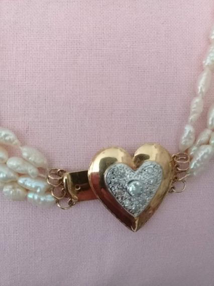 Colar - Pérolas - Ouro Branco E Amarelo + Diamantes Namorada