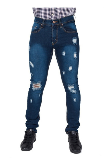 Pantalón Hombre Skinny Con Destrucción 2 Tonos Envio Gratis