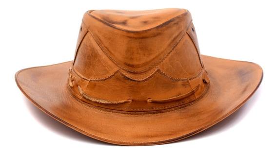 Chapéu Masculino Couro Legitimo Country Cowboy Rodeio America