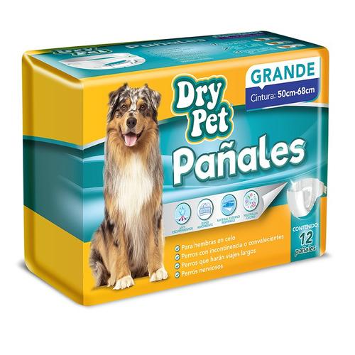 Pañales Perro Grande 12 Pzas Cintura 50 68cm Dry Pet