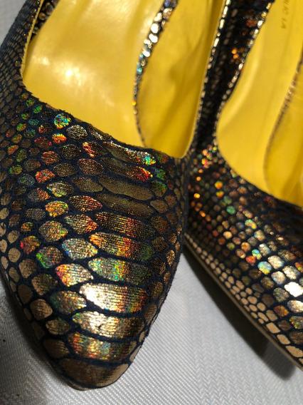 Zapatos De Taco Brillantes Para Fiesta Escamas Dorados