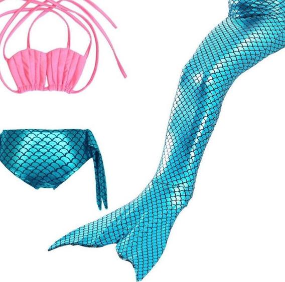 Cauda De Sereia Infantil Com Biquini Sem Nadadeira Concha02