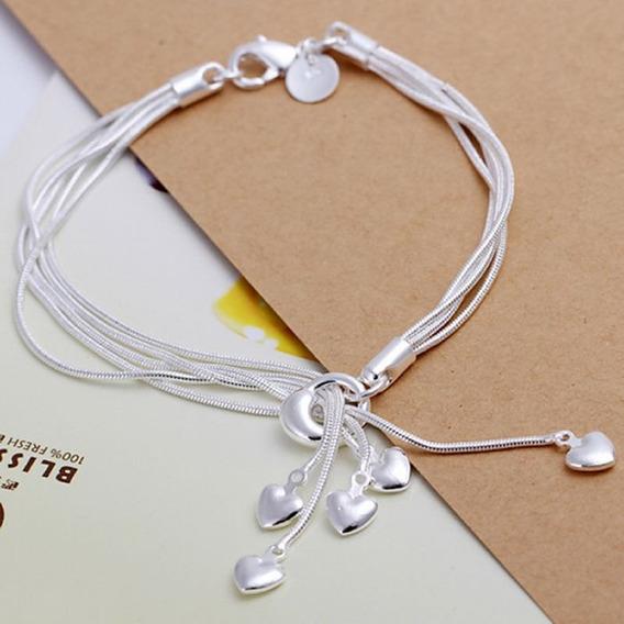 Pulseira Feminina Prata 925 Multicamada Coração Corações C608