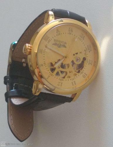 Relógio Automático De Luxo Masculino Couro Dourado + Brinde