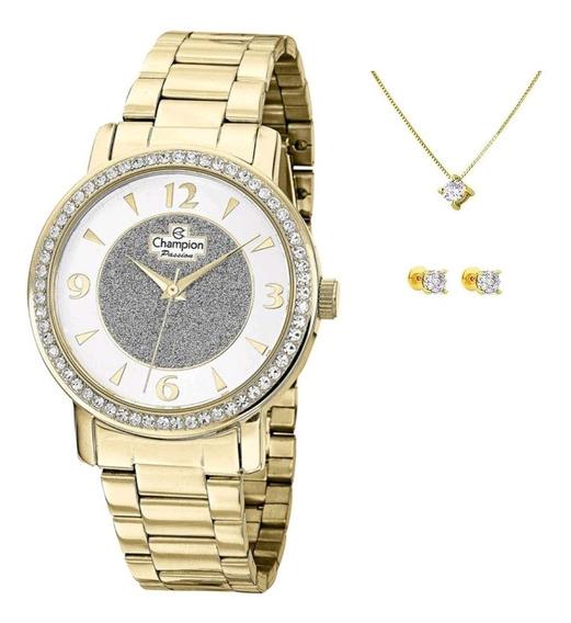 Kit Relógio Champion Dourado Cod1 Feminino + Brinco/colar