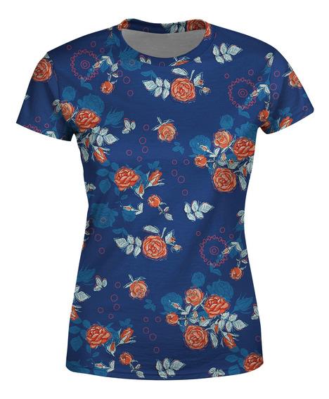 Camiseta Baby Look Floral Rosas No Dark Blue Estampa Total
