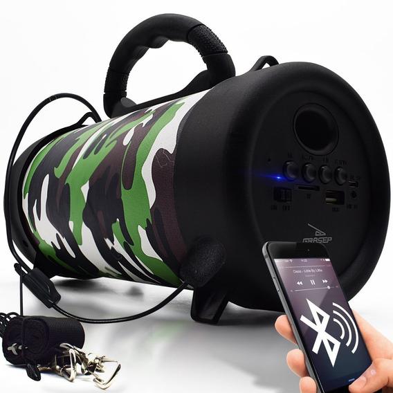 Caixa Som Bluetooth Amplificada Usb Sd Fm 10w + Microfone