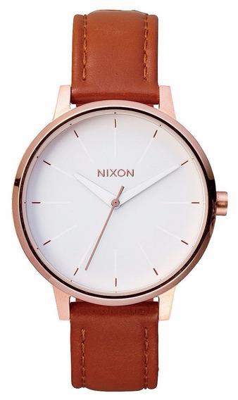 Reloj Nixon The Kensington Oro Rosado Piel Cafe A108-1045