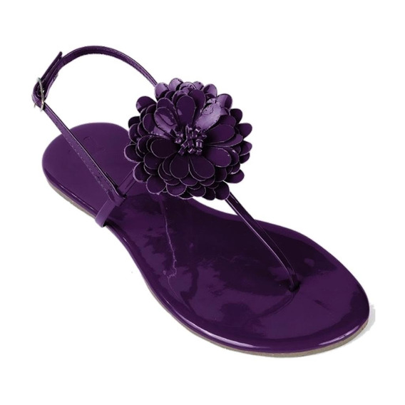 Sandália Flat Feminina Mercedita Shoes Verniz Com Flor Uva