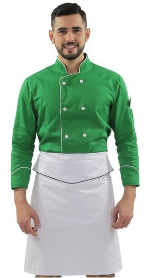 Uniforme Chef De Cozinha Doma Verde Unissex E Avental