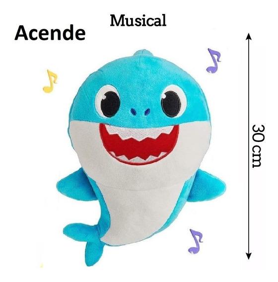 C/ Bateria/musical/4 Led/ 1 Pelúcia Bebê Tubarão Baby Shark