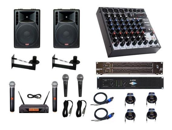 Kit Igreja 2cx10, Mesa 8c, Equalizador, Potencia + Microfone