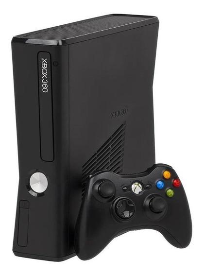 Xbox 360 Slim 4gb Original Preto Fosco + 1 Controle Sem Fio
