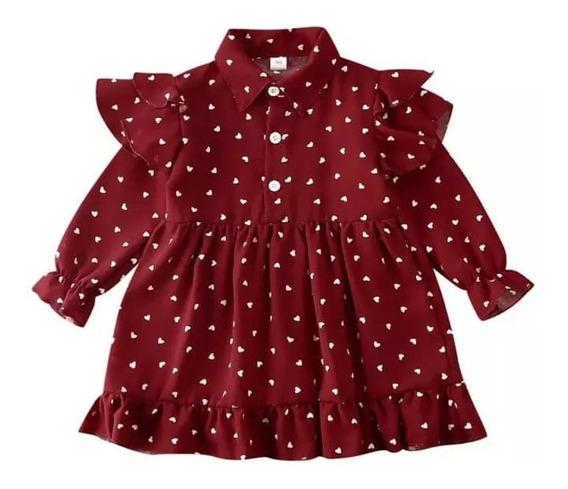Vestido Para Bebe Niña Manga Larga Con Lunares