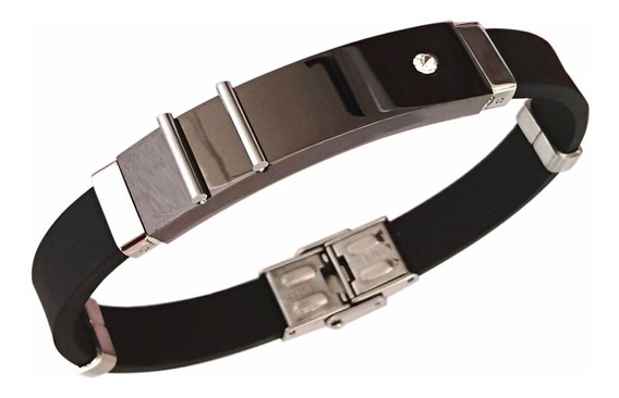 Bracelete Pulseira Masculina Aço E Silicone Banhada Ouro