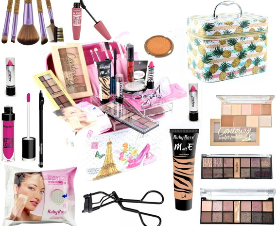 Maleta Grande Maquiagem Profissional Completa Rubyrose Avon