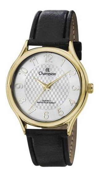 Relógio Masculino Dourado Champion Couro Detalhes No Fundo