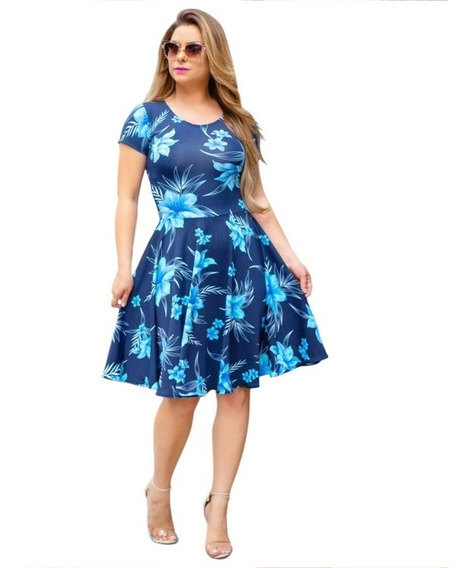 Vestido Feminino Midi Godê Moda Evangélica Estampado