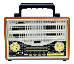 Vintage Rádio Retro Am Fm Sw Bluetoooth Recarregavel Usb Nf