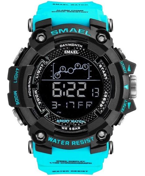 Relógio Smael 1802 Com Caixa Azul Militar / Frete Grátis