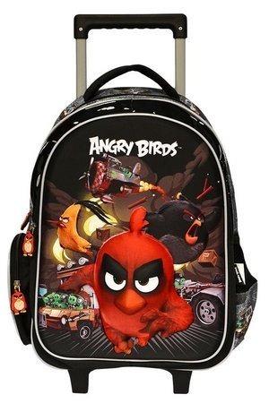 Mochila Rodinha Angry Birds Com Desenho 3d Escolar Infantil