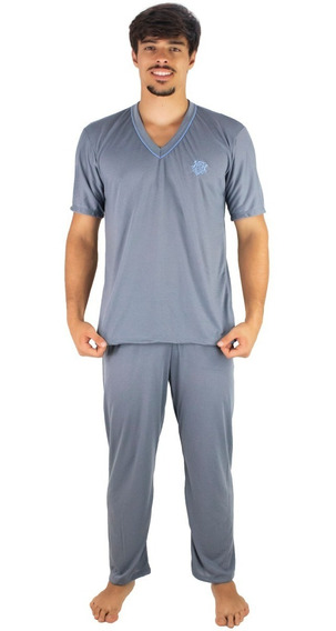 Pijama Masculino Longo Adulto Camisa Bordada E Calça Longa