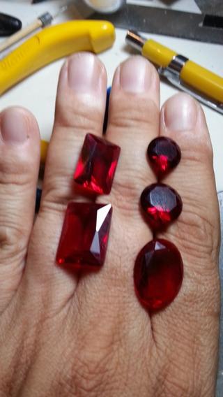 Cristal Vermelho Rubi Sangue De Pombo Para Joias 5 Pc Strass