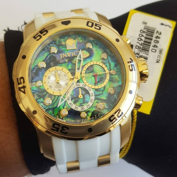 Relógio Invicta Pro Diver 24840 Original Dourado E Branco