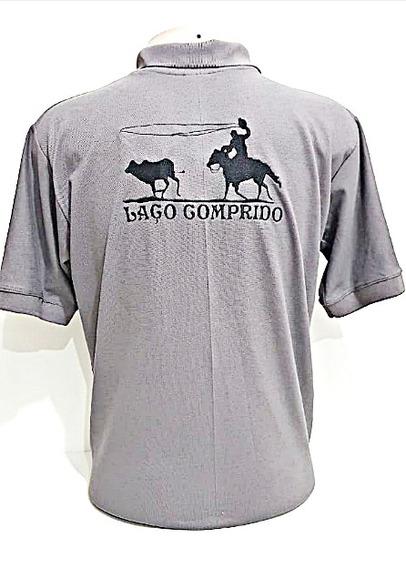 Camiseta Polo Masculina Cinza Bordado Preto Laço Comprido