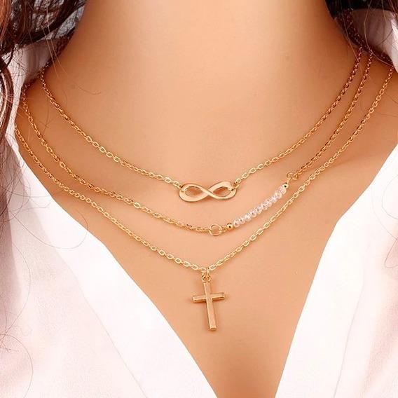 Colar Gargantilha Corrente Feminino Banhado A Ouro Cruz