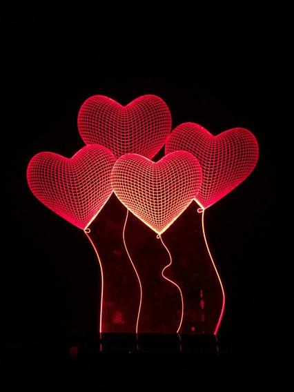 Luminária 3d Corações (balão) Em Acrílico + Led