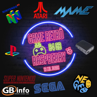 Vídeo Game Retrô Raspberry Pi3 Recalbox 64gb Controle Ps3