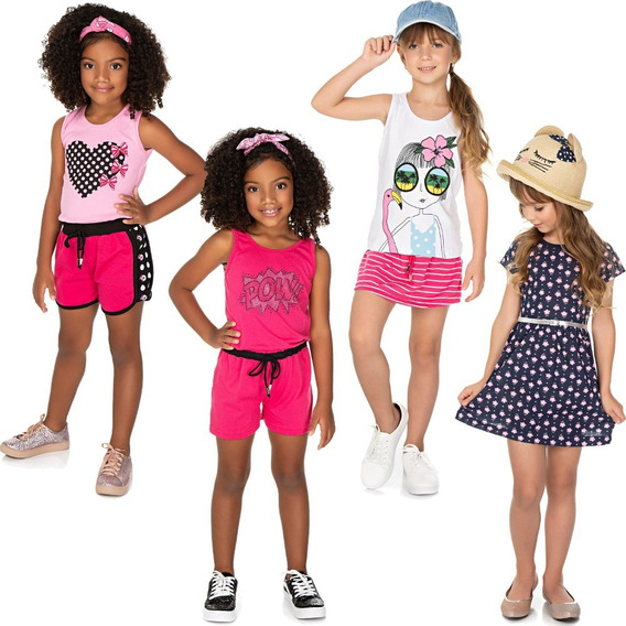 Roupa Infantil Menina Kit 2 Conjuntos + Macaquinho + Vestido
