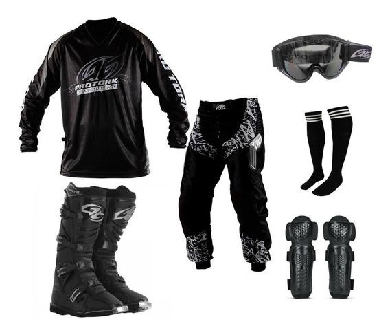 Kit Cross Trilha Bota + Camisa + Calca+ Oculos + Joelheira