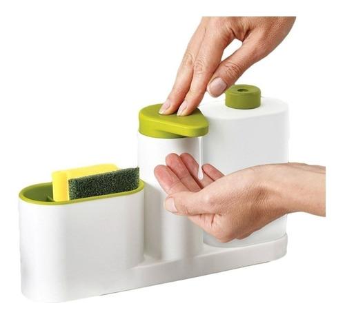 Organizador Bacha Cocina 3en1 Dispenser Esponja Detergente