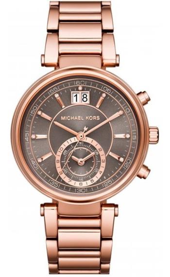 Relógio Michael Kors Feminino Rose C Fundo Cinza Mk6226/4cn