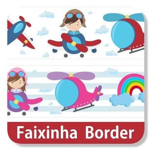 06 Faixas Adesivas Border Urso Aviador Avião Papel Parede