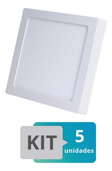 Kit 5 Painel Plafon Led Sobrepor Quadrado 25w Branco Quente