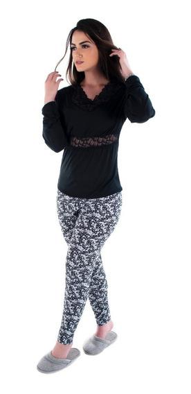 Pijama Feminino De Inverno Roupa Feminina Blusa E Calça Frio