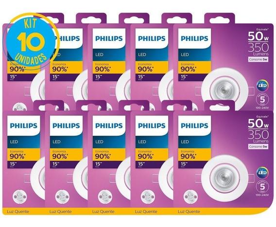 Kit 10 Spot De Led Redondo 5w 2700k Luz Amarela Philips
