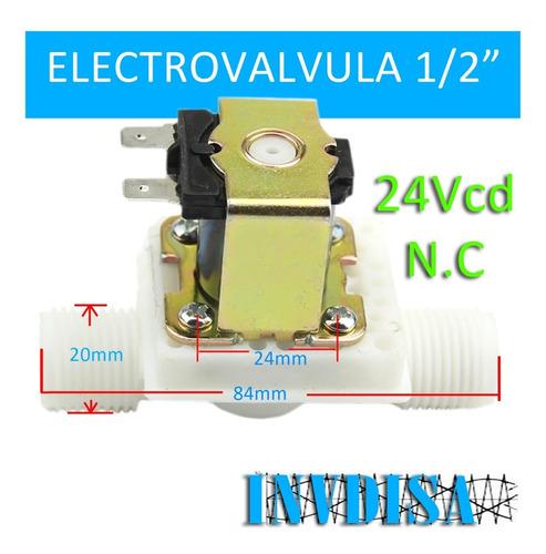 Imagen 1 de 6 de Valvula Solenoide 1/2 Electrovalvula 24vcd 24v Invdisa.com