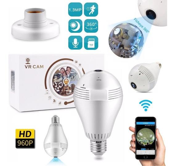 Lâmpada Espiã Câmera Segurança Ip Wifi Hd Panorâmica Celular