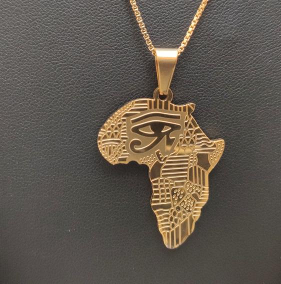 Pingente Africa Banhado Ouro 18k Hip Hop Africano + Corrente