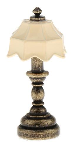 Imagen 1 de 6 de Lámpara De Mesa De Pantalla De Bronce De La Columna Beige