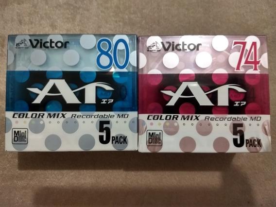 Lote Com 10 Mini Discs Victor, Regravável, Novo E Lacrado